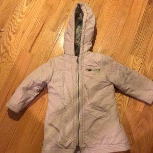 Hooded faux fur lining padded girls coat European